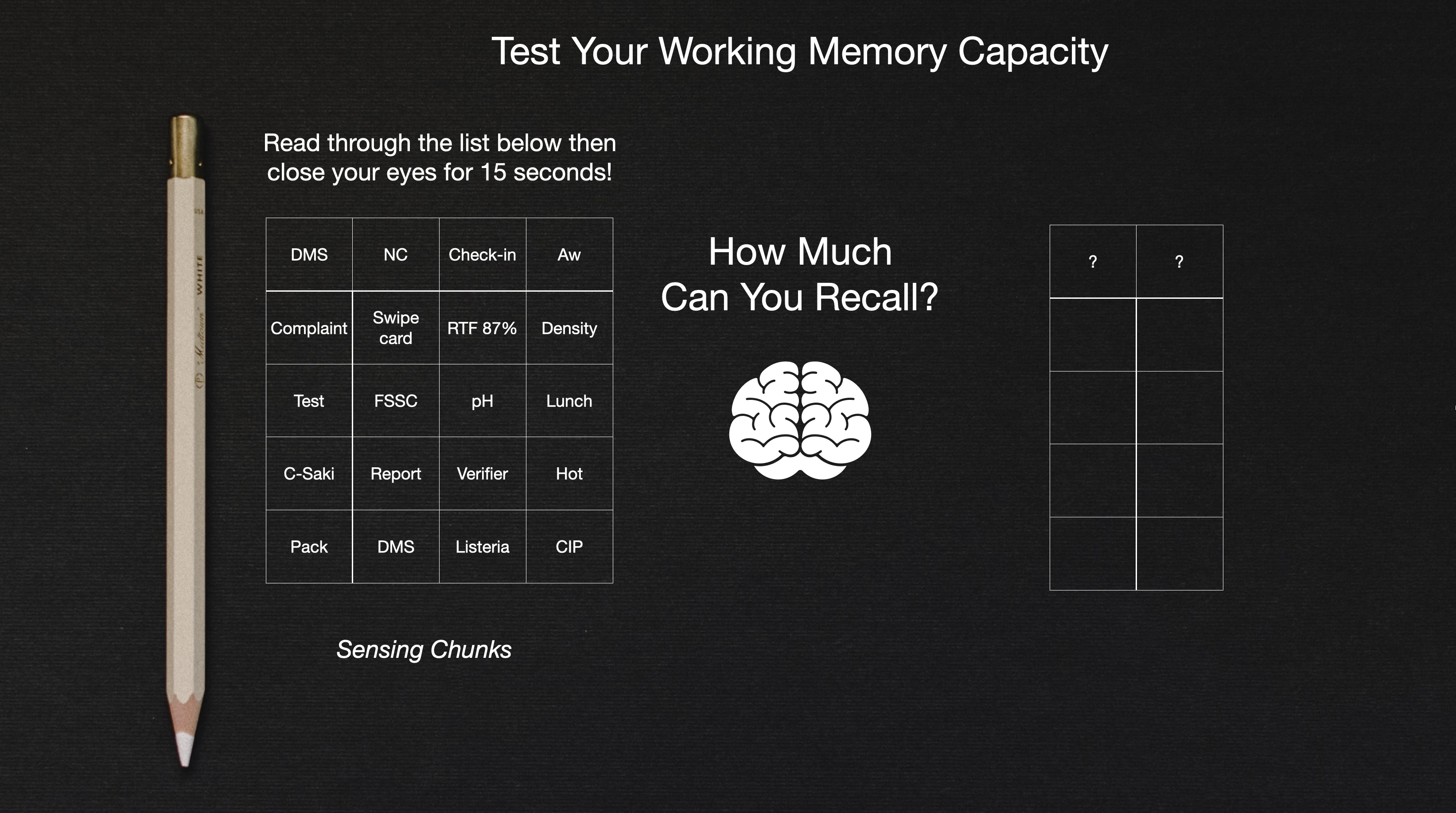 What does limited, short-term memory mean to a person or food business?